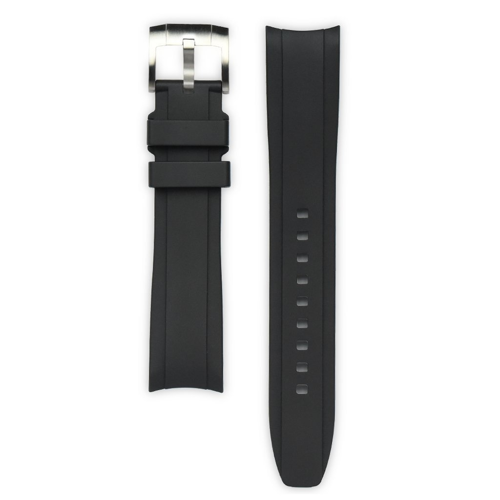 Everest Rolex straps Everest Rubber Strap with Tang Buckle Black, EH5BLK
