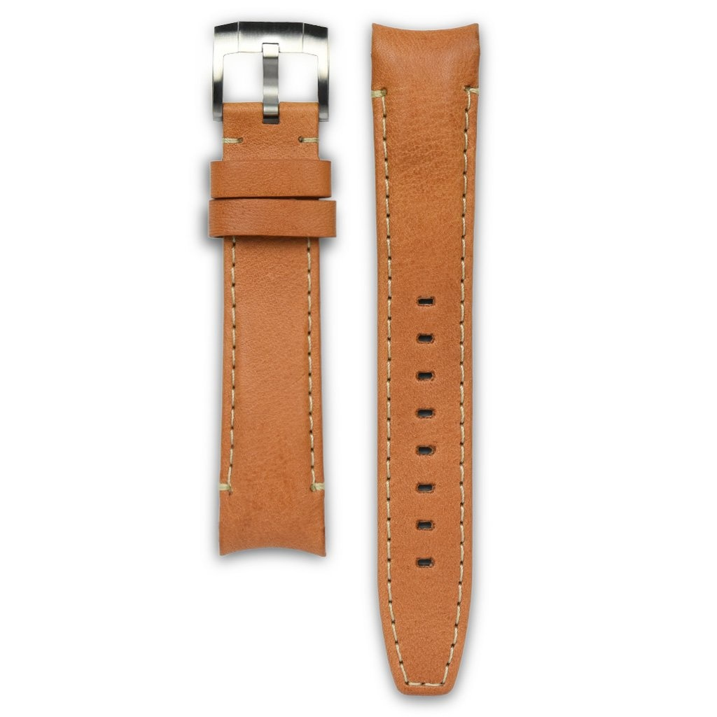 Everest Rolex straps Everest Leather Strap with Tang Buckle Curved End Tan ABS, EH8TAN