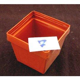 Square pots clay colored 6 x 6 x 5.2 cm