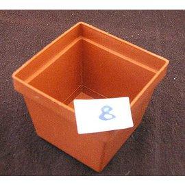 Square pots clay colored 7 x 7 x 5.8 cm