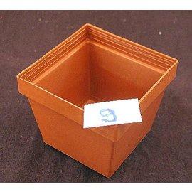Square pots clay colored 8 x 8 x 6.7 cm