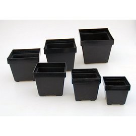 Pots carrés noirs 9,7 x 9,7 x  8,4 cm