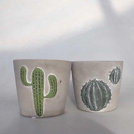 Übertopf mit Kaktusmotiv