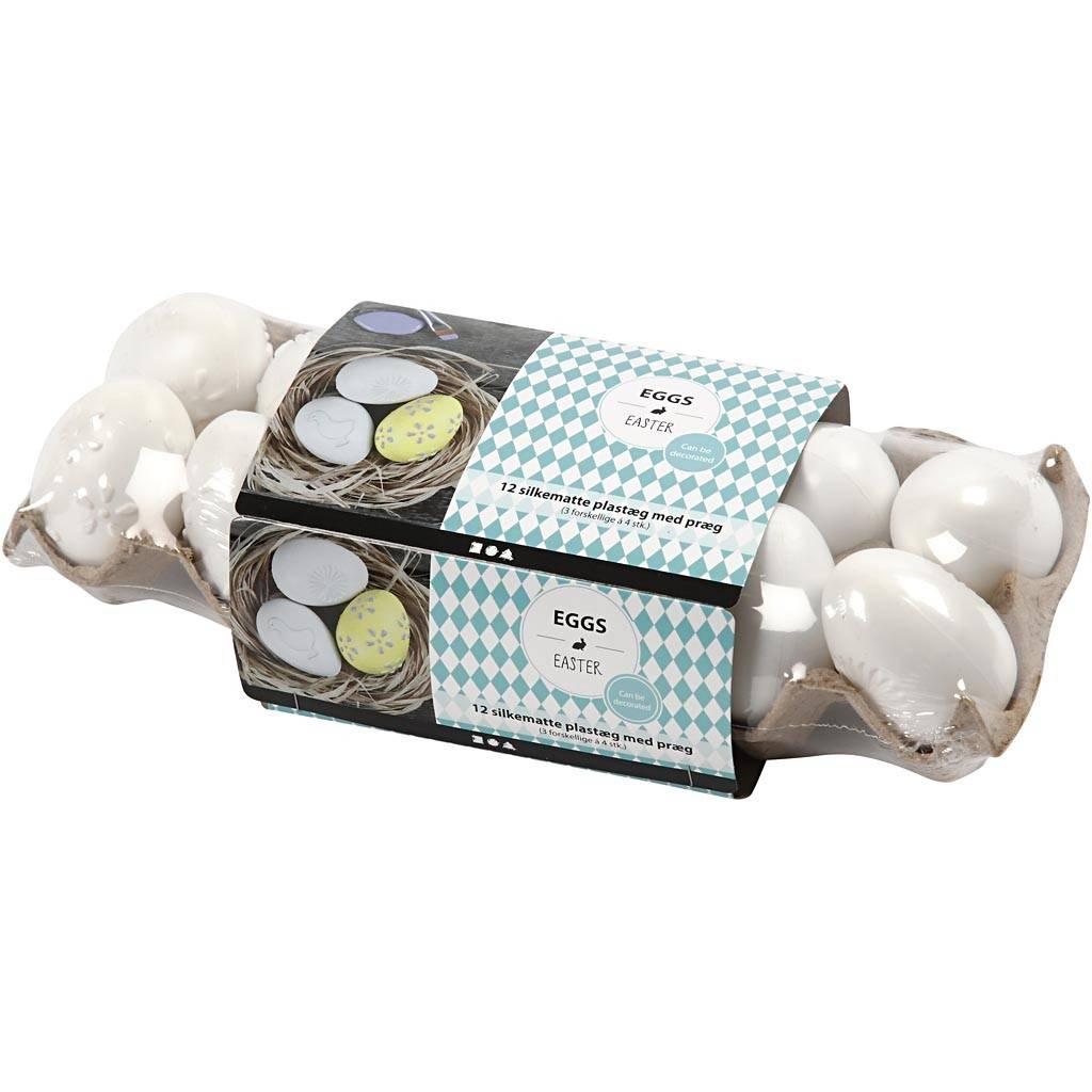 Eieren wit plastiek patroon