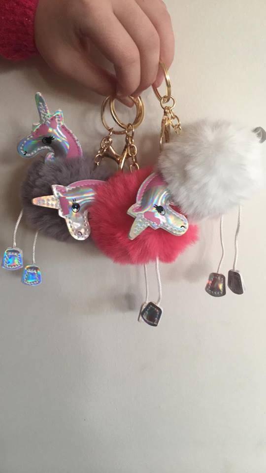 Unicorn sleutelhanger roze