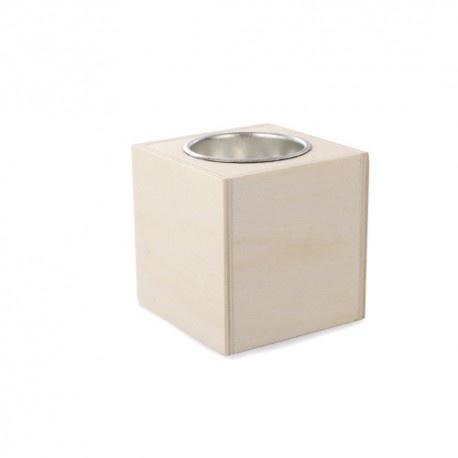 Houten vierkante kaarshouder 6x6x5,8cm (zonder kaars)