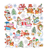 Stickervel Skieende Sneeuwmannen 15 x 16,5 cm