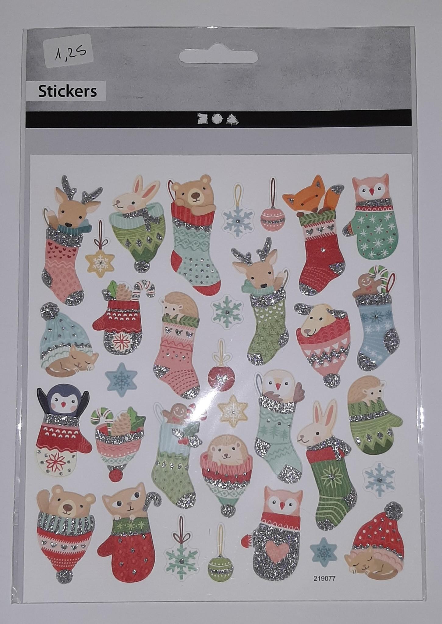 Stickervel Diertjes in Kerstsok