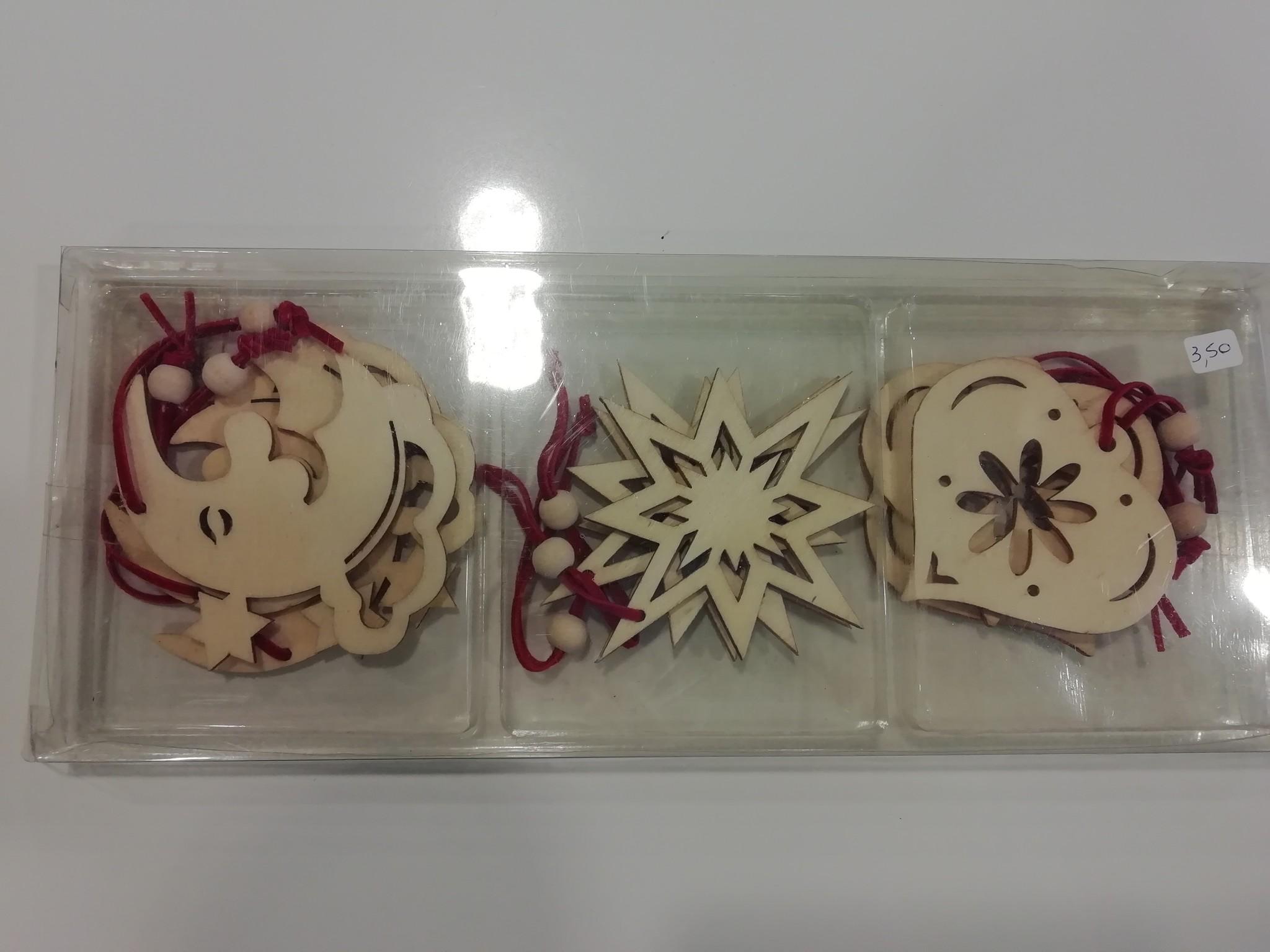 Kerst Ornamenten Set (Maan, Ster, Hart)