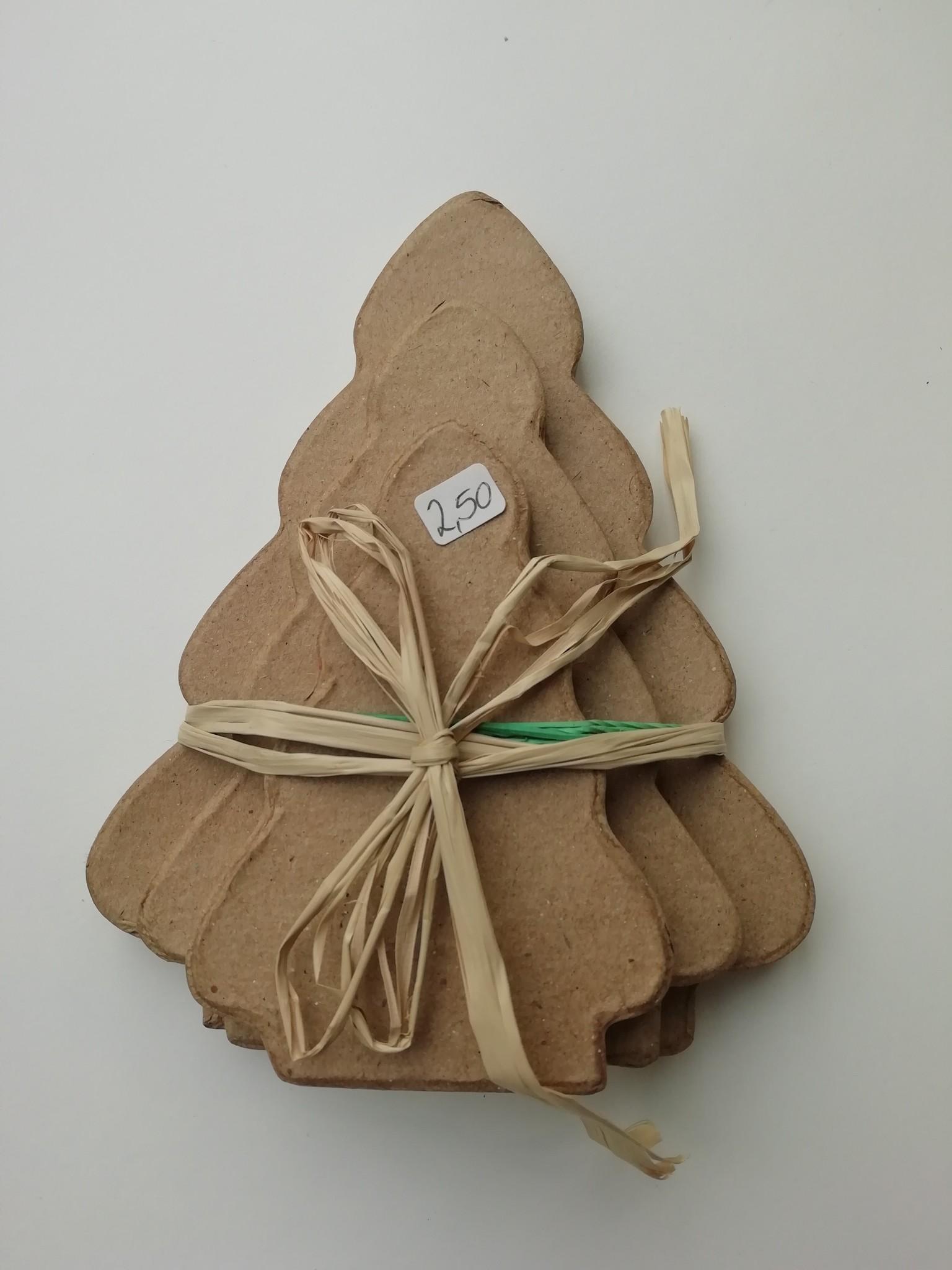Setje Kerstbomen papier-maché
