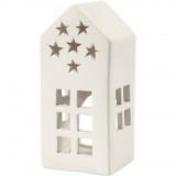 Theelichthouder terracotta huisje sterren