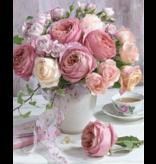 Diamond Painting: Roze rozen in vaas