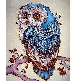 Diamond Painting: Blauwe uil
