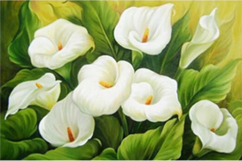 Diamond Painting: Witte lelies