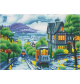 Diamond Painting LED : Tram door stad
