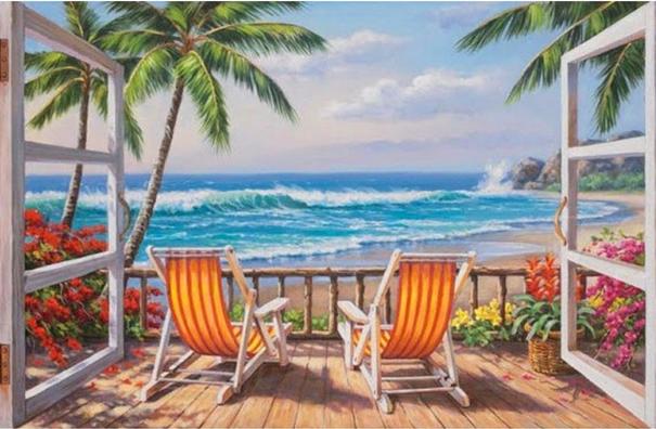 Diamond Painting: Strandstoelen zeezicht