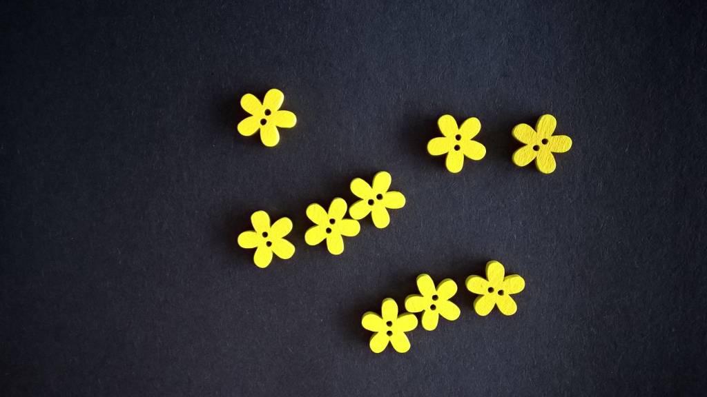 Houten knopen bloemvorm - GEEL