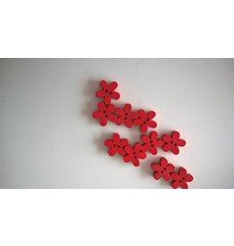 Houten knopen bloemvorm - ROOD