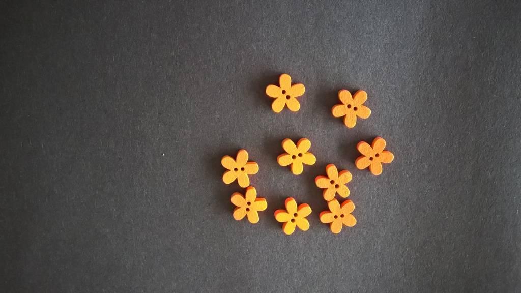Houten knopen bloemvorm - ORANJE