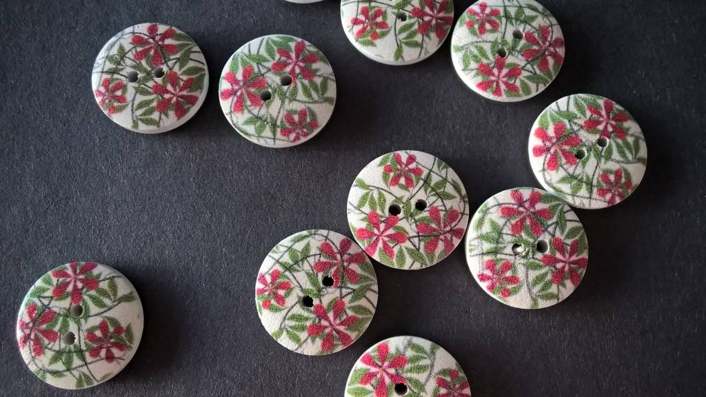 Houten beschilderde knopen - rode bloemen