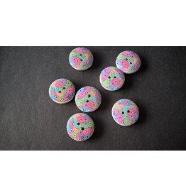 Houten beschilderde knopen - pastel rondjes