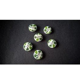 Houten beschilderde knopen - groen bloemmotief