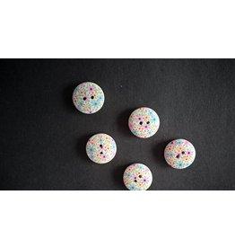 Houten beschilderde knopen - pastel bloemmotief
