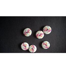 Houten beschilderde knopen - paars bloemmotief