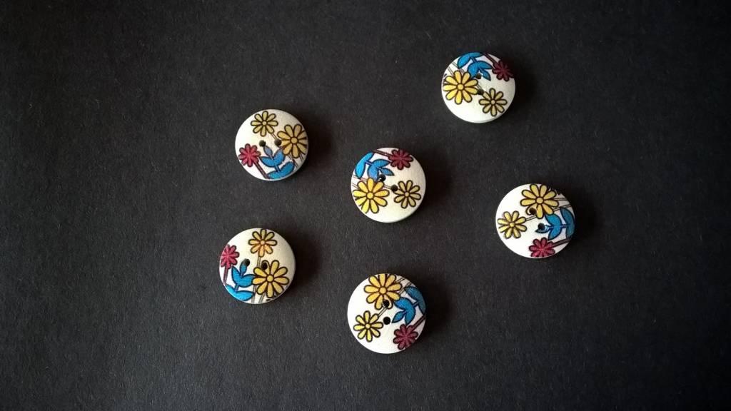 Houten beschilderde knopen - veelkleurig bloemmotief