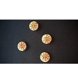 Houten beschilderde knopen - zonnebloem