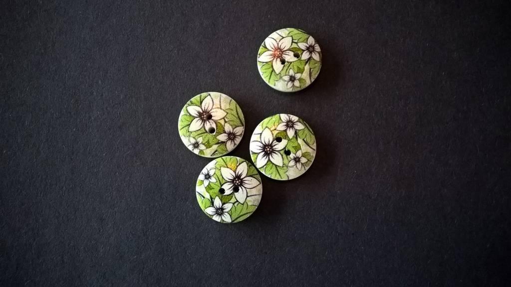 Houten beschilderde knopen - witte bloemen