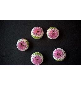 Houten beschilderde knopen - roze bloem