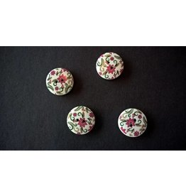 Houten beschilderde knopen - fuchsia bloemetjes