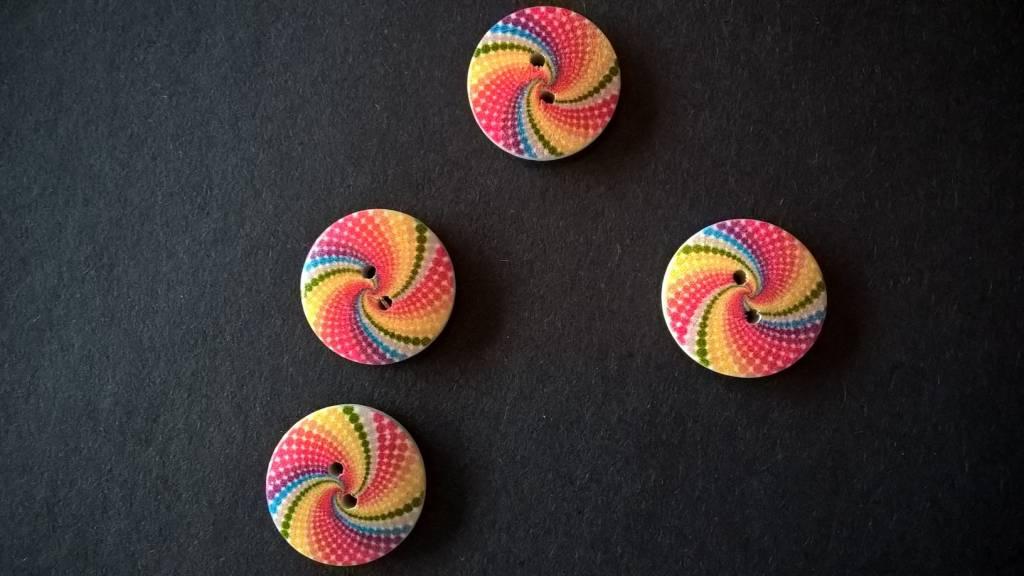 Houten beschilderde knopen - veelkleurig