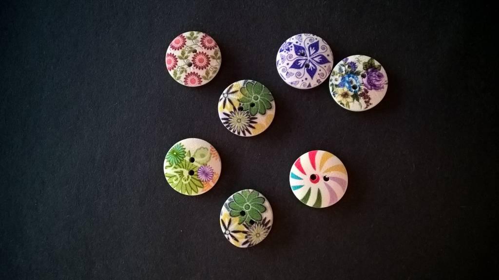 Houten beschilderde knopen - mix