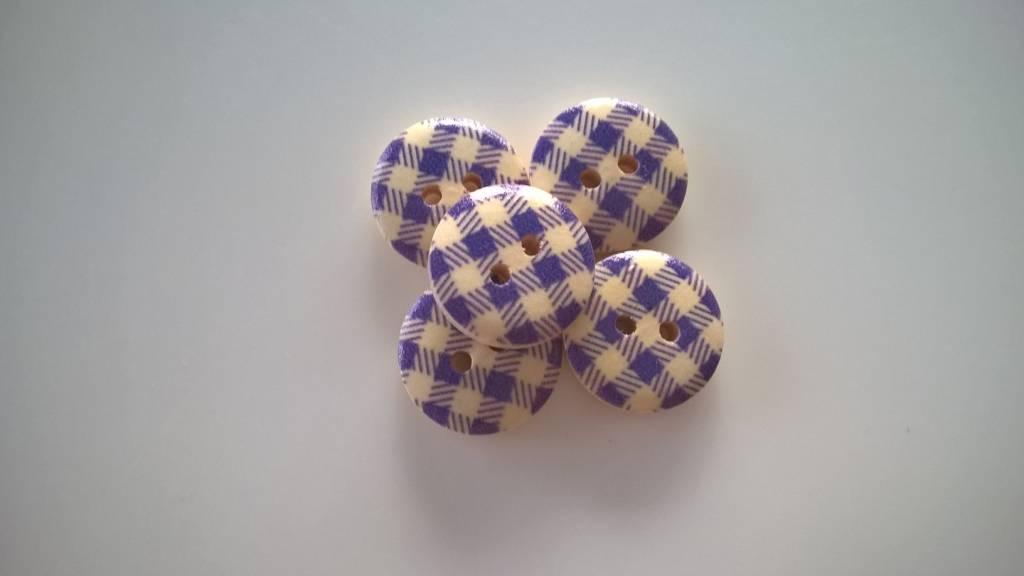 Houten beschilderde knopen - ruitjes onderbroken