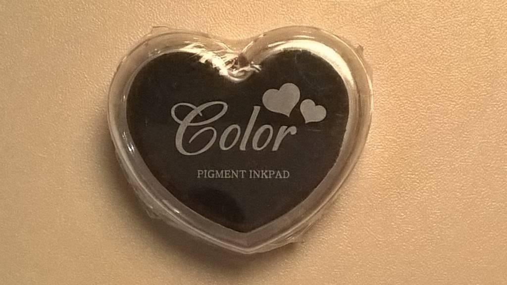 Stempelkussen hartvorm - donkere kleuren