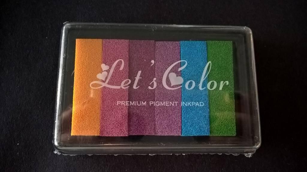 Stempelkussen regenboog