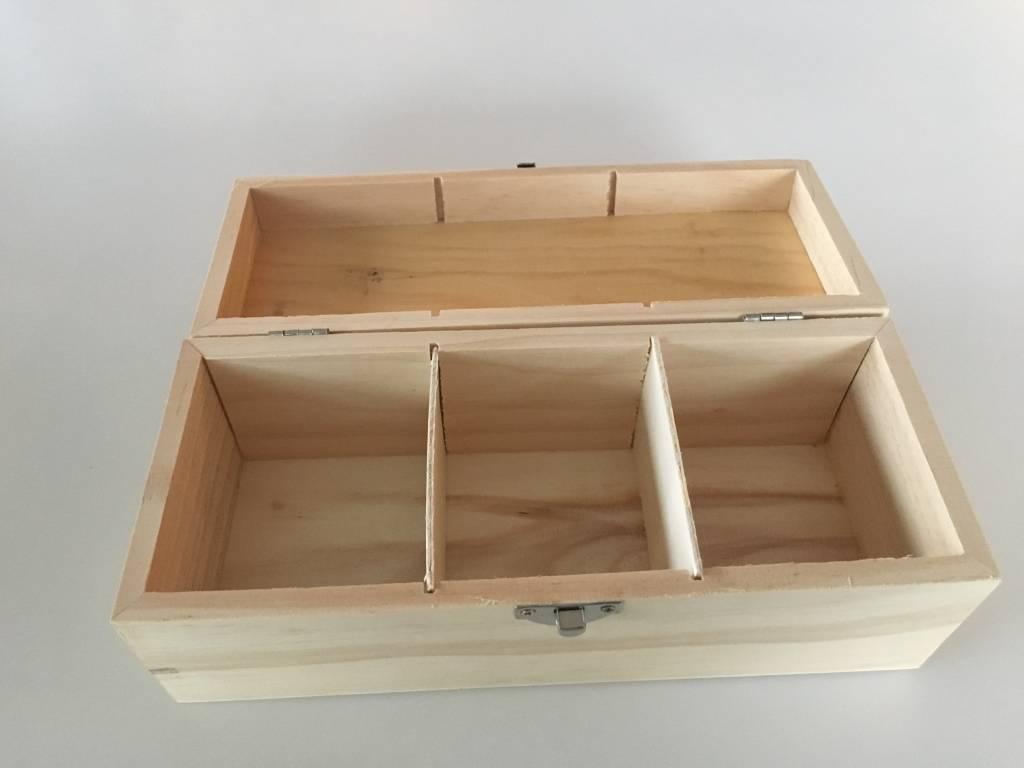 Houten doos hoog met 3 vakken