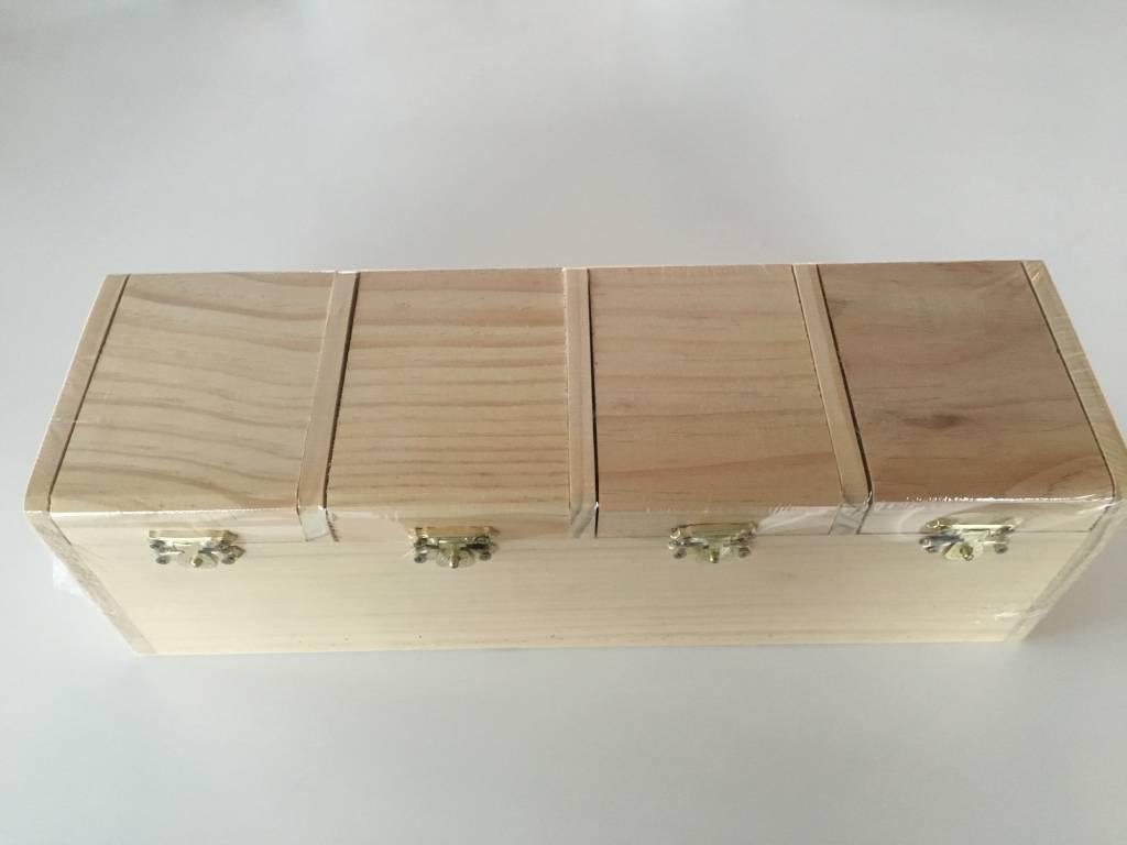 Houten doos met 4 vakken