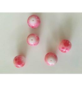 Glaskralen roze/wit