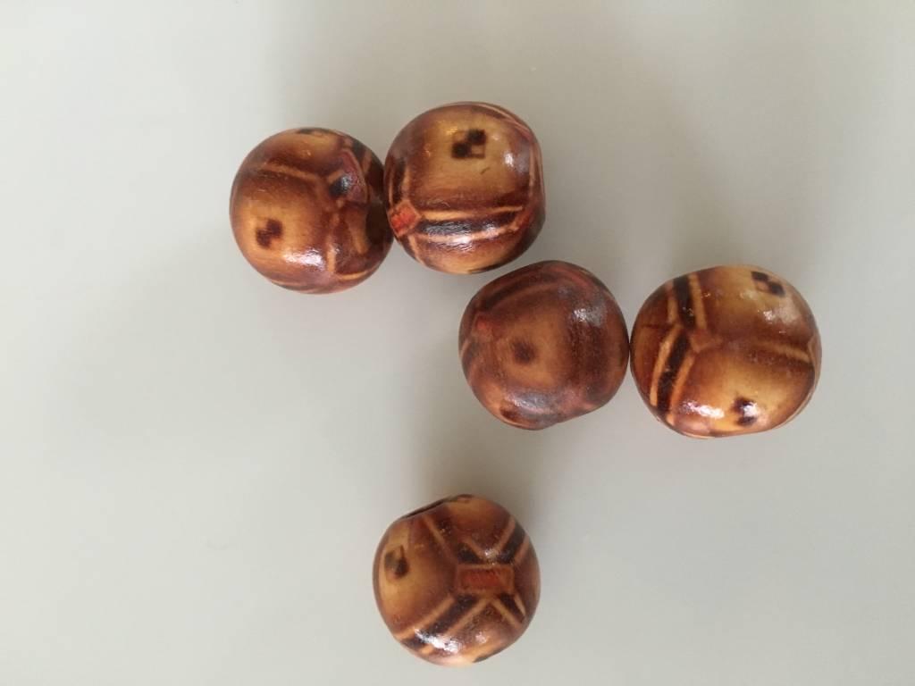 Houten kralen bruin beschilderd