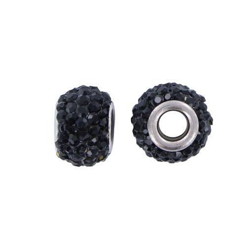 Pandora stijl strass kraal zwart 15 x 9 mm