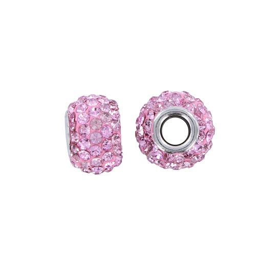 Pandora stijl strass kraal roze 15 x 9 mm