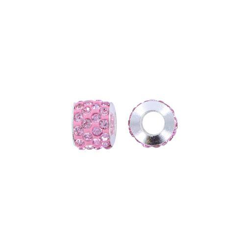 Pandora stijl strass kraal 11 x 10 mm roze