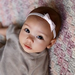 Your Little Miss Light pink newborn baby hair band lace with bow
