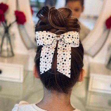 Your Little Miss Haarschleife mit elastischen grauen Punkten