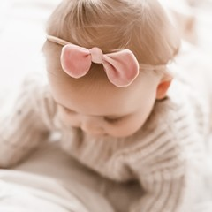 Your Little Miss Baby hair band with velvet bow soft pink