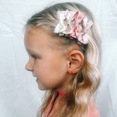 Your Little Miss Set of hair clips with satin bow powder tones