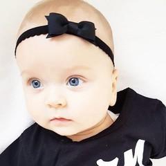Your Little Miss schwarzes Neugeborenen Baby Haarband mit Spitze und Schleife